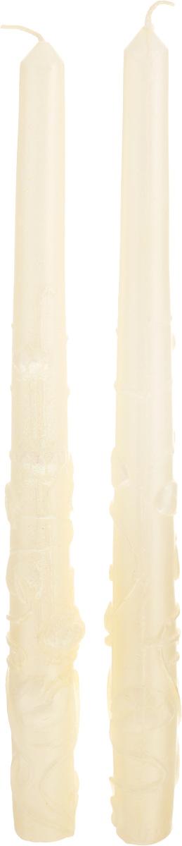 Свеча декоративная Принт Торг Родительская пара 3, цвет: бежевый, высота 27 см, 2 шт69.046Декоративная свеча Принт Торг Родительская пара 3 выполнена из парафина и украшена рельефной поверхностью. Изделие украшено блестками. Создайте для себя и своих близких незабываемую атмосферу праздника в доме. Диаметр основания свечи: 2 см. Время горения 6 часов.