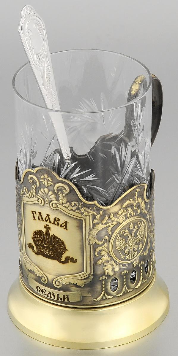 Подстаканник Город Подарков Глава семьи, со стаканом и ложкой, высота 13 см