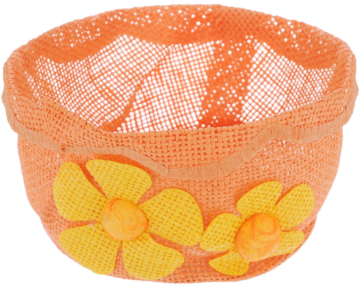 Корзина декоративная Home Queen Незабудки, цвет: оранжевый, диаметр 17,5 см64329_1Декоративная корзина Home Queen Незабудки, изготовленная из бумаги, предназначена для хранения пасхальных яиц. Изделие имеет прочное дно, выполненное из картона. Корзина украшена цветочным декором и имеет стильный внешний вид. Такая корзина станет оригинальным и необычным подарком или украшением интерьера. Диаметр (по верхнему краю): 17 см. Диаметр дна: 14 см. Высота: 9,5 см.