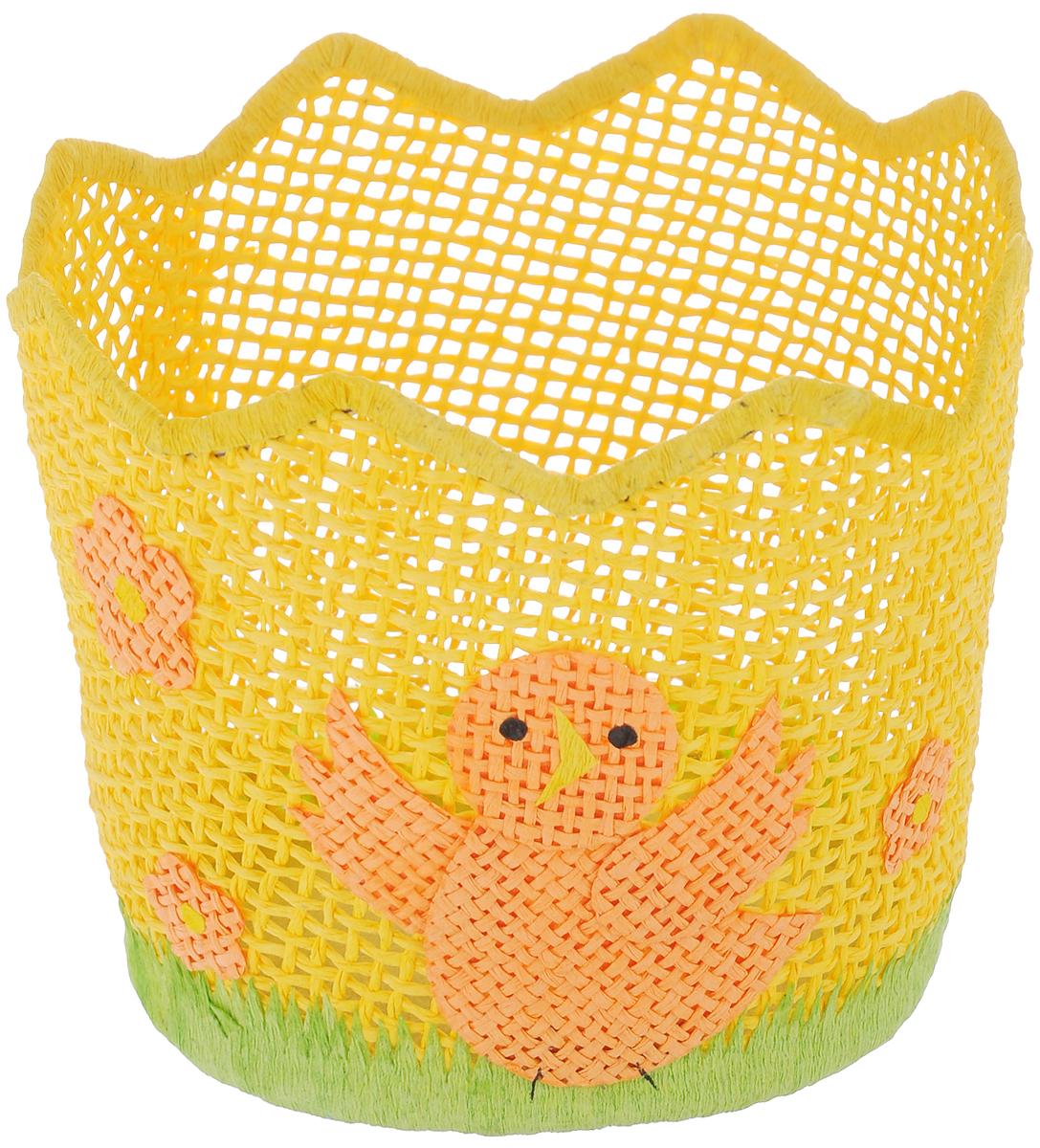 Корзина декоративная Home Queen Птичка-невеличка, цвет: желтый, диаметр 13 см64324_2Декоративная корзинка Home Queen Птичка-невеличка станет замечательным украшением интерьера на Пасху. Корзинка выполнена из прочной бумаги под плетение, дно изготовлено из плотного картона. Изделие декорировано изображением птички и цветов. Такая корзинка дополнит праздничный интерьер вашего дома и создаст особое весеннее настроение. Изделие отлично подходит для хранения пасхальных яиц или кулича.