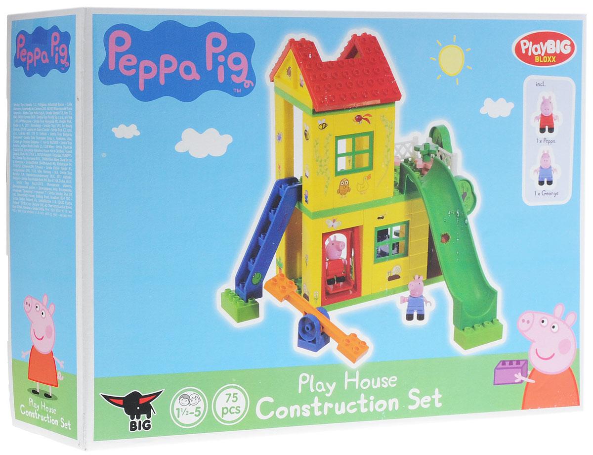 Play Big Конструктор Peppa Pig Игровая площадка57076Конструктор Play Big Peppa Pig. Игровая площадка обязательно порадует поклонников всемирно известного мультика Свинка Пеппа. Как и все юные озорники, Свинка Пеппа обожает играть и веселиться. Из деталей конструктора малыш сможет собрать двухэтажный игровой домик для свинки и ее братика. В домике есть лесенка, горка и качели. Внутри домика можно разместить столик со стульями и потайные ящички. На улице можно оборудовать ещё одну качельку для двух фигурок свинок. Собирать этот конструктор невероятно интересно, ведь с каждой новой деталью вы воспроизводите часть мультяшного мира забавной Свинки Пеппы. Красочный конструктор отлично развивает воображение ребенка, его логику и инженерное мышление, мелкую моторику. Набор содержит 75 деталей, в том числе фигурки Пеппы и Джорджа. Конструктор совместим с Lego Duplo. Рекомендуемый возраст: от 18 месяцев.