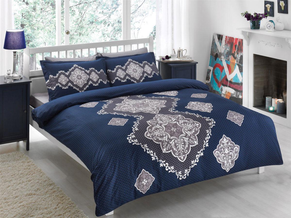 Комплект белья TAC Diane, 1,5-спальный, наволочки 50х70, цвет: синий4241Роскошный комплект постельного белья TAC Diane выполнен из качественного плотного сатина с использованием фирменного нанесения Pano. Комплект состоит из пододеяльника, простыни и двух наволочек. Пододеяльник застегивается на пуговицы. Сатин – гладкая и прочная ткань, которая своим блеском, легкостью и гладкостью похожа на шелк, но выгодно отличается от него в цене. Сатин практически не мнется, поэтому его можно не гладить. Ко всему прочему, он весьма практичен, так как хорошо переносит множественные стирки. Доверьте заботу о качестве вашего сна высококачественному натуральному материалу.