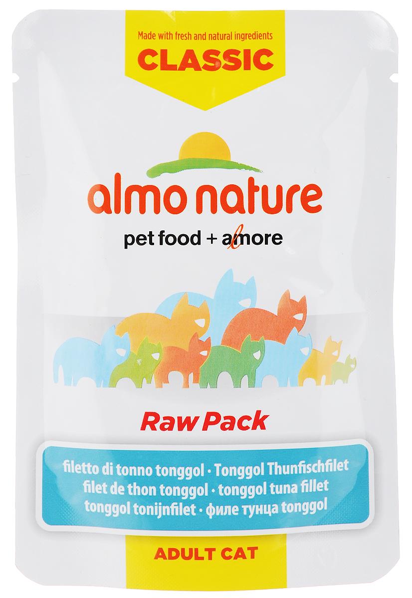 Консервы для взрослых кошек Almo Nature Classic Raw Pack, филе тонгольского тунца, 55 г23216_newКонсервы Almo Nature Classic Raw Pack - это сбалансированный влажный корм, рекомендованный взрослым кошкам. Угощение изготавливается из свежих и натуральных ингредиентов, которые были упакованы в сыром виде, затем стерилизованы прямо в пауче, позволяя сохранить все питательные вещества и вкус и аромат. Ваш питомец будет в полном восторге! Не содержит сои, консервантов, ароматизаторов, искусственных красителей, усилителей вкуса. Состав: филе тонгольского тунца 75%, бульон из тунца 24%, рис 1%. Пищевая ценность в 100г: белок 20%, клетчатка 0,1%, масла и жиры 0,3%, зола 2%, влажность 77%. Энергетическая ценность: 720 ккал/кг. Товар сертифицирован.