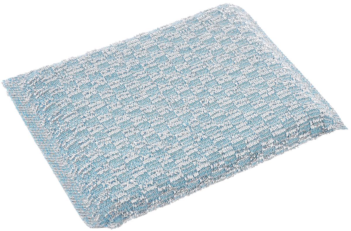Губка для мытья посуды Home Queen, с металлизированной нитью, цвет: голубой39_голубойГубка Home Queen изготовлена из поролона в чехле из полипропиленовой металлизированной нити. Предназначена для мытья посуды и очистки сильно загрязненных кухонных поверхностей. Удобна в применении. Позволяет экономить моющее средство, благодаря структуре поролона, который дает много пены при использовании. Материал: полипропиленовая металлизированная нить, поролон.