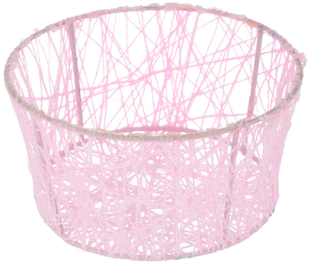 Корзина декоративная Home Queen Паутинка, цвет: розовый, диаметр 14 см66827_2Декоративная корзинка Home Queen Паутинка прекрасно подойдет для хранения пасхальных яиц, а также различных мелочей. Корзинка имеет металлический каркас, обтянутый нитями из полиэстера. Блестки придают изделию особый праздничный вид. Такая корзинка украсит интерьер дома к Пасхе, внесет частичку тепла и веселья в ваш дом.