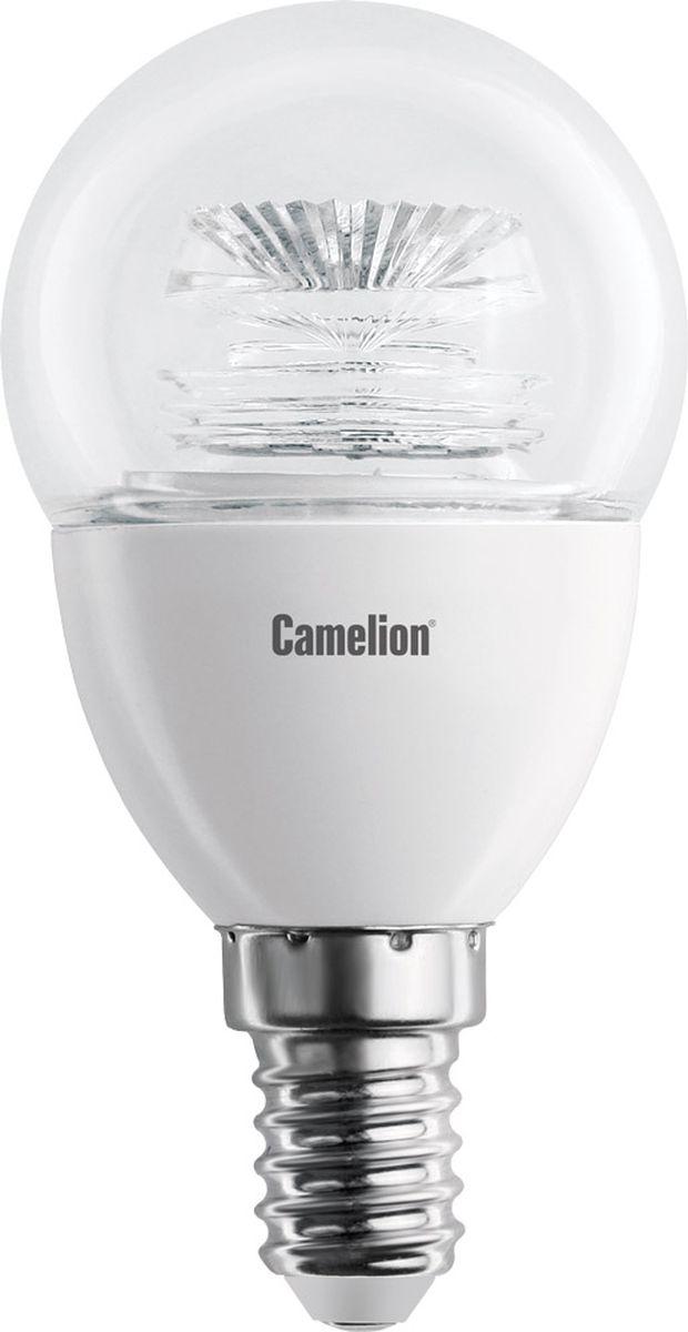 Лампа светодиодная Camelion, теплый свет, цоколь Е14, 5,5 W11852Светодиодная лампа, температура цвета 3000К (Теплый цвет), напряжение 220 Вольт