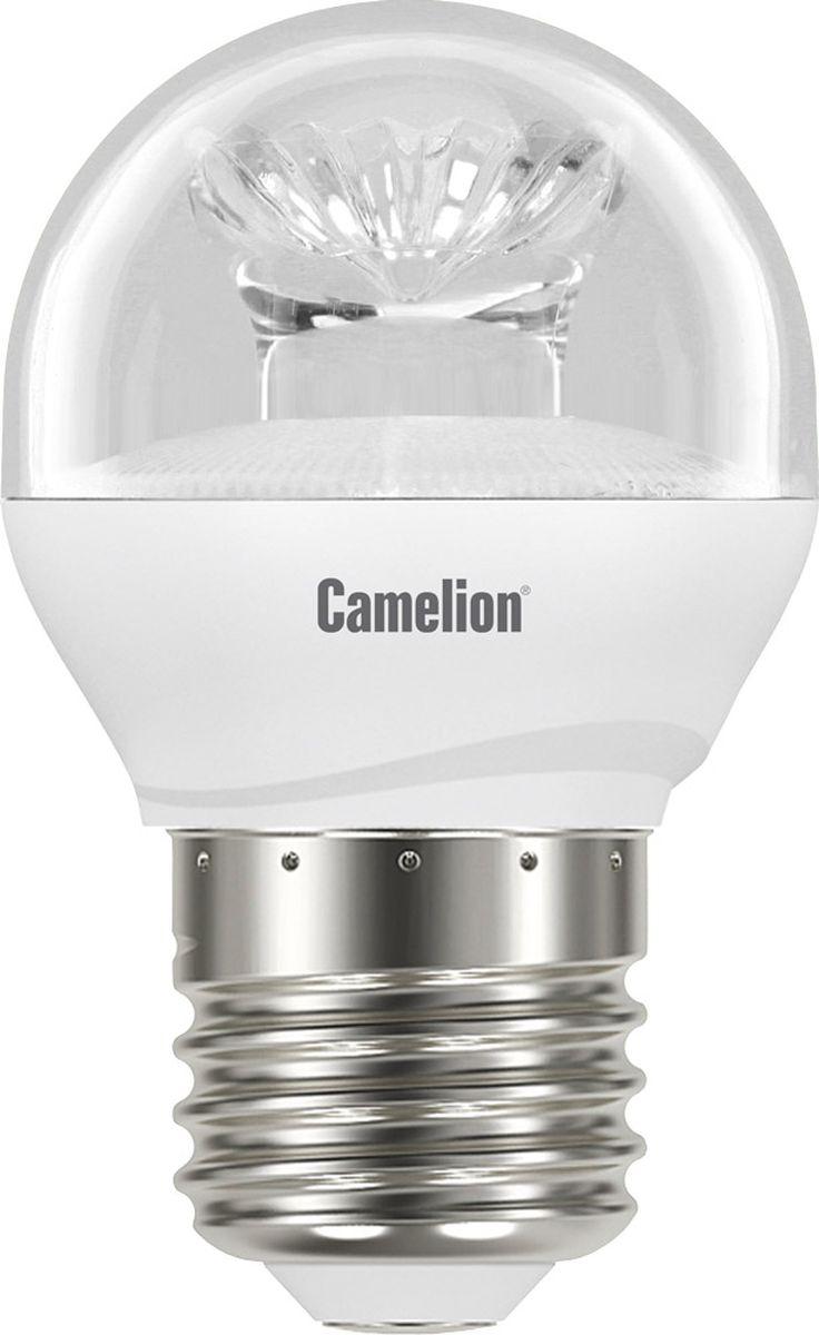 Лампа светодиодная Camelion, теплый свет, цоколь Е27, 6,5 W11931Светодиодная лампа, температура цвета 3000К (Теплый цвет), напряжение 220 Вольт