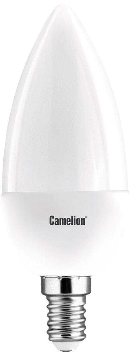 Лампа светодиодная Camelion, теплый свет, цоколь Е14, 7W. 1207312073Светодиодная лампа Camelion - это инновационное решение, разработанное на основе новейших светодиодных технологий (LED) для эффективной замены любых видов галогенных или обыкновенных ламп накаливания во всех типах осветительных приборов. Она хорошо подойдет для создания рабочей атмосферы в производственных и общественных зданиях, спортивных и торговых залах, в офисах и учреждениях. Лампа не содержит ртути и других вредных веществ, экологически безопасна и не требует утилизации, не выделяет при работе ультрафиолетовое и инфракрасное излучение. Напряжение: 220-240В/50 Гц. Индекс цветопередачи (Ra): 77+. Угол светового пучка: 240°. Срок службы: 30000 ч.