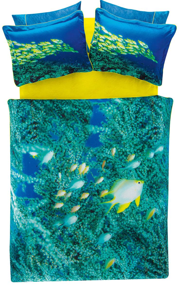 Комплект белья TAC Neon, 2-спальный, наволочки 50х70, цвет: лазурный, желтый3506Роскошный комплект постельного белья TAC Neon выполнен из качественного плотного сатина и украшен изображением красочных морских обитателей и разнообразных растений. Комплект состоит из пододеяльника, простыни и четырех наволочек. Пододеяльник застегивается на пуговицы. Сатин – гладкая и прочная ткань, которая своим блеском, легкостью и гладкостью похожа на шелк, но выгодно отличается от него в цене. Сатин практически не мнется, поэтому его можно не гладить. Ко всему прочему, он весьма практичен, так как хорошо переносит множественные стирки. Доверьте заботу о качестве вашего сна высококачественному натуральному материалу.