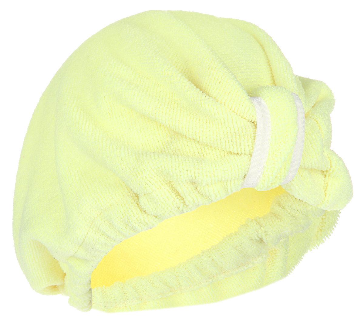 Чалма для сушки волос Главбаня, цвет: желтыйБ90_желтыйЧалма Главбаня выполнена из микрофибры. Обеспечивает щадящую и комфортную сушку волос после мытья, держится и выглядит лучше обычного полотенца. Чалма также может использоваться при нанесении макияжа и косметических процедурах, для защиты волос в сауне. Прекрасно впитывает влагу и подходит для волос любой длины. Чалма Главбаня пригодится вам не только дома, но и в поездке, на даче, после занятий спортом. Максимальный обхват головы: 68 см.