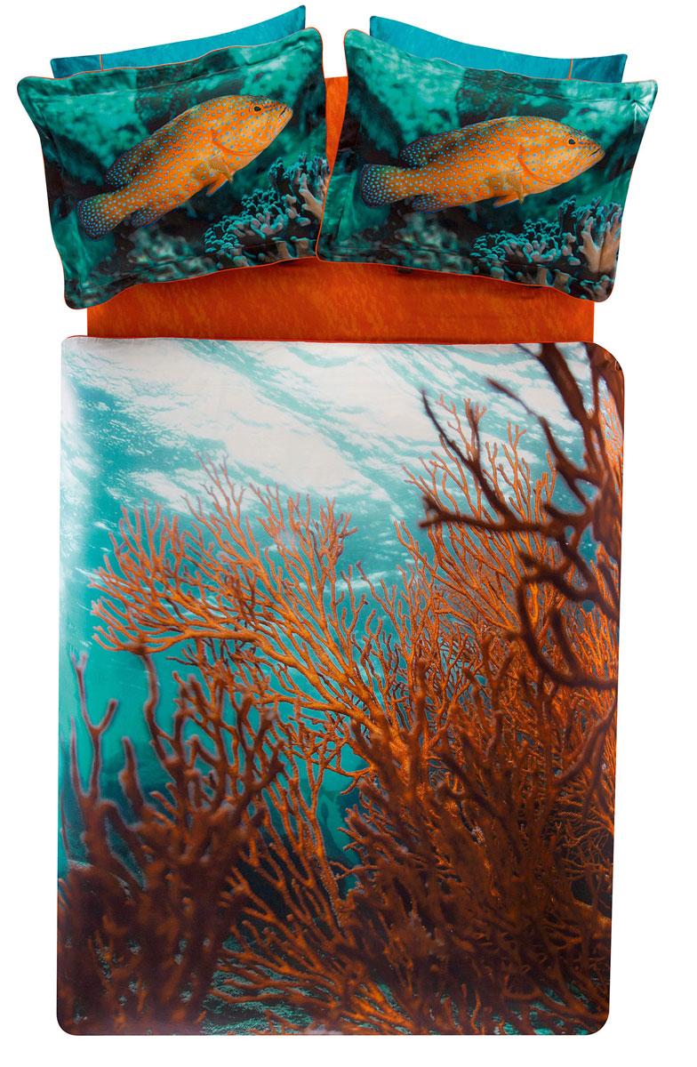 Комплект белья TAC Coral, 2-спальный, наволочки 50х70, цвет: голубой, коричневый3506Роскошный комплект постельного белья TAC Coral выполнен из качественного плотного сатина и украшен изображением красочных морских обитателей и разнообразных растений. Комплект состоит из пододеяльника, простыни и четырех наволочек. Пододеяльник застегивается на пуговицы. Сатин – гладкая и прочная ткань, которая своим блеском, легкостью и гладкостью похожа на шелк, но выгодно отличается от него в цене. Сатин практически не мнется, поэтому его можно не гладить. Ко всему прочему, он весьма практичен, так как хорошо переносит множественные стирки. Доверьте заботу о качестве вашего сна высококачественному натуральному материалу.