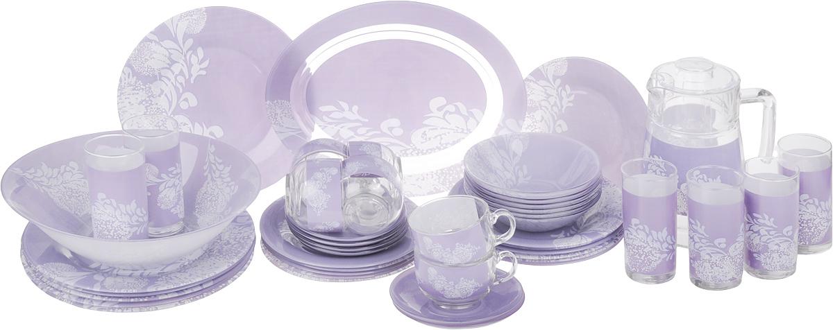 Набор столовой посуды Luminarc Piume Purple, 45 предметовJ8232Набор Luminarc Piume Purple состоит из 6 суповых тарелок, 6 обеденных тарелок, 6 десертных тарелок, глубокого салатника, блюда, 6 чашек, 6 блюдец, 6 малых салатников, графина, 6 стаканов. Изделия выполнены из ударопрочного стекла, имеют яркий дизайн, необычный рисунок и классическую круглую форму. Посуда отличается прочностью, гигиеничностью и долгим сроком службы, она устойчива к появлению царапин и резким перепадам температур. Такой набор прекрасно подойдет как для повседневного использования, так и для праздников или особенных случаев. Набор столовой посуды Luminarc Piume Purple - это не только полезный подарок для родных и близких, а также великолепное дизайнерское решение для вашей кухни или столовой. Можно использовать в микроволновой печи, не рекомендуется мыть в посудомоечной машине. Диаметр суповой тарелки: 21,5 см. Высота суповой тарелки: 3,3 см. Диаметр обеденной тарелки: 25 см. Высота...
