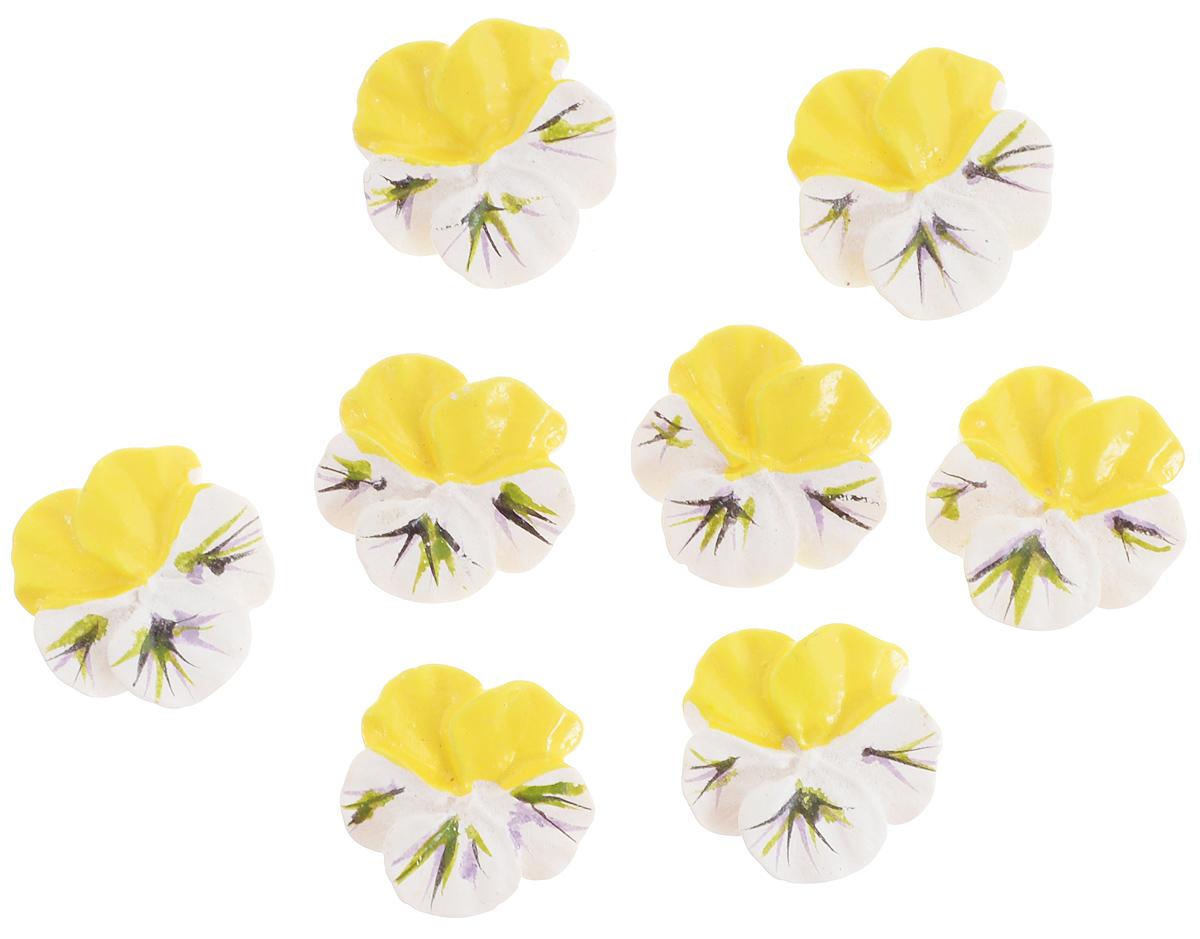 Украшение для яиц Home Queen Луговые цветы, на клейкой основе, цвет: желтый, белый, 8 шт