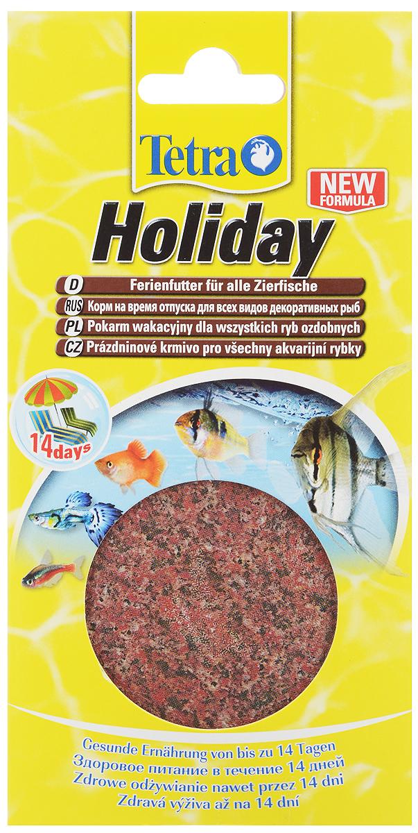 Корм для рыб Tetra Holiday, твердый гель, 30 г198999Корм для рыб Tetra Holiday в виде твердого геля обеспечивает лучший запас еды во время вашего отсутствия до 14 дней. Корм изготовлен в виде твердого геля, который погружается в воду и обеспечивает полноценное вскармливание тропических рыбок на протяжении 2 недель. Запатентованная формула корма содержит вкусные дафнии, необходимые микроэлементы, витамины и минеральные вещества. Использование корма не изменяет качественных показателей аквариумной воды: корм долго не растворяется в воде, тем самым не загрязняя ее. Блок на 100% съедобный. Состав: моллюски и раки (дафния 7%), водоросли, дрожжи. Аналитические компоненты: сырой белок 3%, сырые масла и жиры 0,1%, сырая клетчатка 1,5%, влага 90%. Добавки: консерванты, красители. Товар сертифицирован.