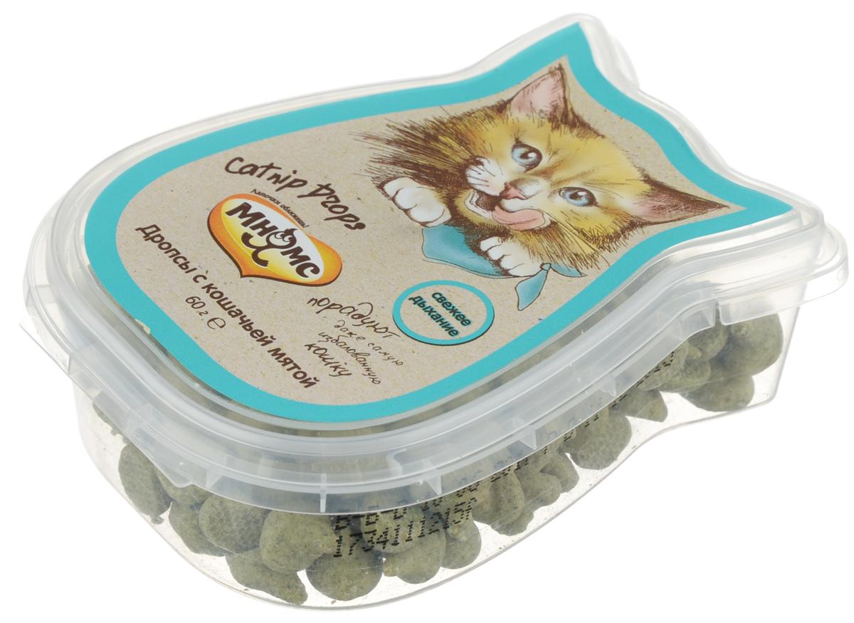 Лакомство для кошек Мнямс, дропсы с кошачьей мятой, 60 г702037Лакомство для кошек Мнямс - дополнительное питание для кошек. Это здоровое угощение, которое придется по вкусу даже самому капризному любимцу. Лакомство с кошачьей мятой станет желанным угощением вашего любимца. Освежает дыхание и укрепляет иммунитет. Давать в виде дополнения к основному питанию, не более 20 кусочков в день (в зависимости от размера и активности кошки) и не более 5 кусочков за один прием. Подходит для котят с 3 месяцев. Свежая вода всегда должна быть доступна вашей кошке. Состав: сахара, молоко и молочные продукты (14%), масла и жиры, продукты растительного происхождения (кошачья мята 4%), злаки. Анализ компонентов: белок 6,4%, жир 22,0%, клетчатка 1,5%, зола 4,5%. Пищевые добавки/кг: витамин А 12000 МЕ, витамин D3 1200 МЕ, витамин Е 48 мг, биотин 200 мг. Товар сертифицирован.