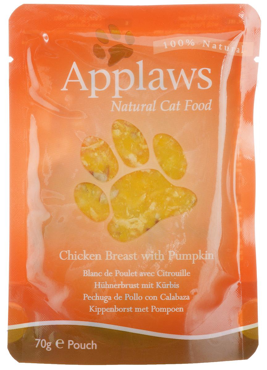 Консервы для кошек Applaws, с курицей и тыквой, 70 г24361Консервы для кошек Applaws - это 70 г настоящего удовольствия для кошек. Нежное мясо в собственном бульоне с лакомыми добавками. Ламинированная упаковка из пищевой фольги прекрасно сохраняет все вкусовые качества рецепта. Продукт не содержит ГМО, синтетических добавок, усилителей вкуса и красителей. Applaws - все только натурально, ничего лишнего! Состав: филе куриной грудки 50%, куриный бульон 24%, тыква 25%, рис 1%. Гарантированный анализ: белок 12%, жиры 0,3%, зола 0,5%, клетчатка 0,2%, влага 81%. Товар сертифицирован.