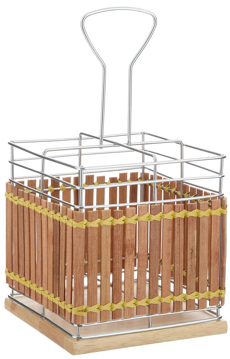 Подставка для столовых приборов Mayer & Boch, 13 х 13 х 25 см8639Подставка для столовых приборов Mayer & Boch изготовлена из металла с деревянной плетеной отделкой. Изделие имеет 4 секции для хранения различных столовых приборов. Дно подставки выполнено из дерева. Для удобной переноски подставка снабжена ручкой. Оригинальная и стильная подставка для столовых приборов отлично дополнит интерьер кухни и поможет аккуратно хранить ваши столовые приборы.