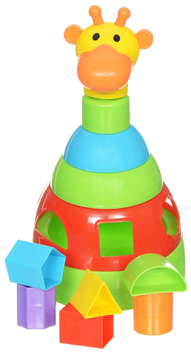 Simba Пирамидка-сортер Жираф4012536Развивающая игрушка пирамидка-сортер Жираф представляет собой полноценный игровой набор, в который входят пирамидка-неваляшка и сортер с геометрическими фигурами. Пирамидка состоит из основания, четырех колец и верхушки в виде головы жирафа. Каждое кольцо пирамидки разного цвета и размера. В первом кольце пирамидки находится сортер на 5 геометрических фигур. Малыш может вставлять фигурки в соответствующие отверстия. Пирамидка-сортер - интересная игрушка для самых маленьких. Малыш может складывать кольца по размеру или цветам, при этом развивается логическое мышление, мелкая моторика и память. Рекомендуемый возраст: 1-3 года.