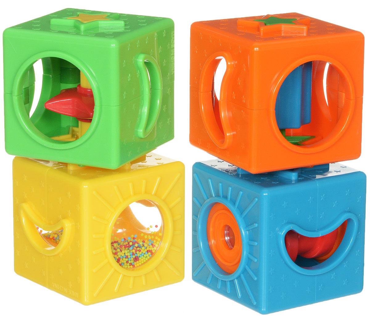 Simba Развивающие кубики4013749Кубики Simba - это красочный набор погремушек-трещоток, помещенных в кубические блоки с фигурными отверстиями и оригинальными вставками. Каждый из кубиков внутри имеет свое уникальное устройство, которое может работать, только если малыш приложит определенные усилия. Кубики-погремушки Simba обязательно заинтересуют малыша, так как представляют собой довольно яркие и интересные по форме объекты. Наличие же дополнительных предметов в середине кубика, только добавит погремушкам привлекательности. Ведь так интересно покрутить колесико или посмотреть на то, как пересыпаются яркие блестки в песочных часах. Грани игрушек содержат фигурные отверстия в форме круга, звездочки и полумесяца. Каждый кубик снабжен дополнительным устройством - песочными часами, трещоткой, крутящейся звездочкой и подзорной трубой. Развлекаясь с развивающими кубиками-погремушками, ребенок улучшает навыки мелкой моторики, тренирует глазомер и учится различать объекты по форме и цвету.