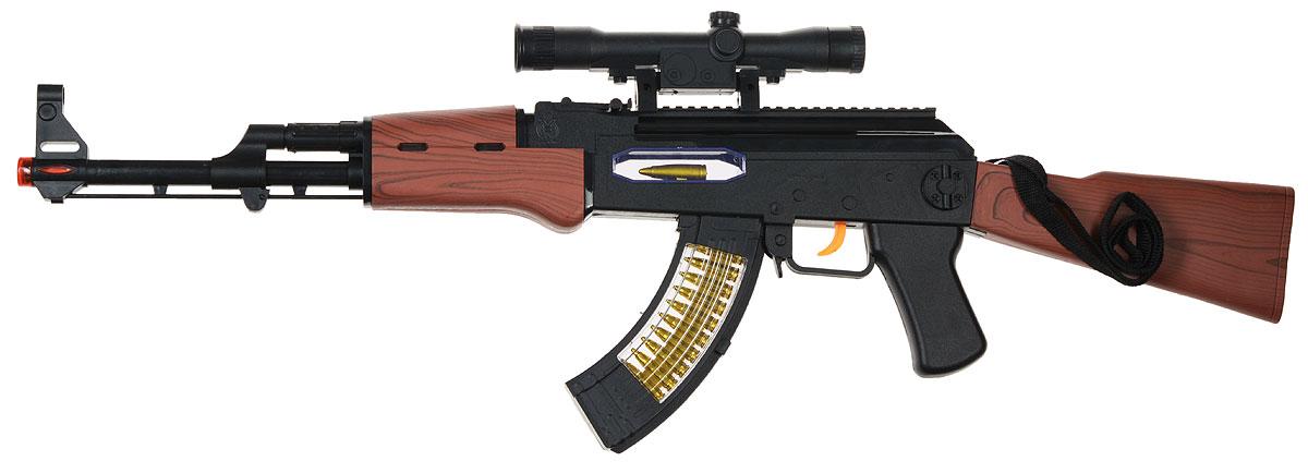 ABtoys Автомат АК-47 ARS-242ARS-242Какой мальчишка в детстве не играет в войну, воображая себя первоклассным шпионом или супергероем. Автомат ABtoys АК-47 ARS-242 - уменьшенная копия настоящего оружия, выполненная из износостойких материалов. Вашему ребенку не придется имитировать звуки выстрелов во время игры, ведь в игрушечный автомат встроен звуковой модуль. Поэтому, при нажатии на курок, будут раздаваться звуки, характерные для перестрелки. Помимо этого, в игрушку встроено множество лампочек, которые будут светиться различными цветами, пока ребенок отважно атакует врага! При стрельбе он вибрирует, что еще больше усиливает сходство с настоящим автоматом. Под стволом имеется имитация лазерного прицела. Автомат ABtoys АК-47 ARS-242 - это отличный подарок для детей, которые любят подвижные игры. Детское оружие поможет полностью погрузиться в вымышленный мир приключений. Для работы игрушки необходимы 4 батарейки типа АА (не входят в комплект).