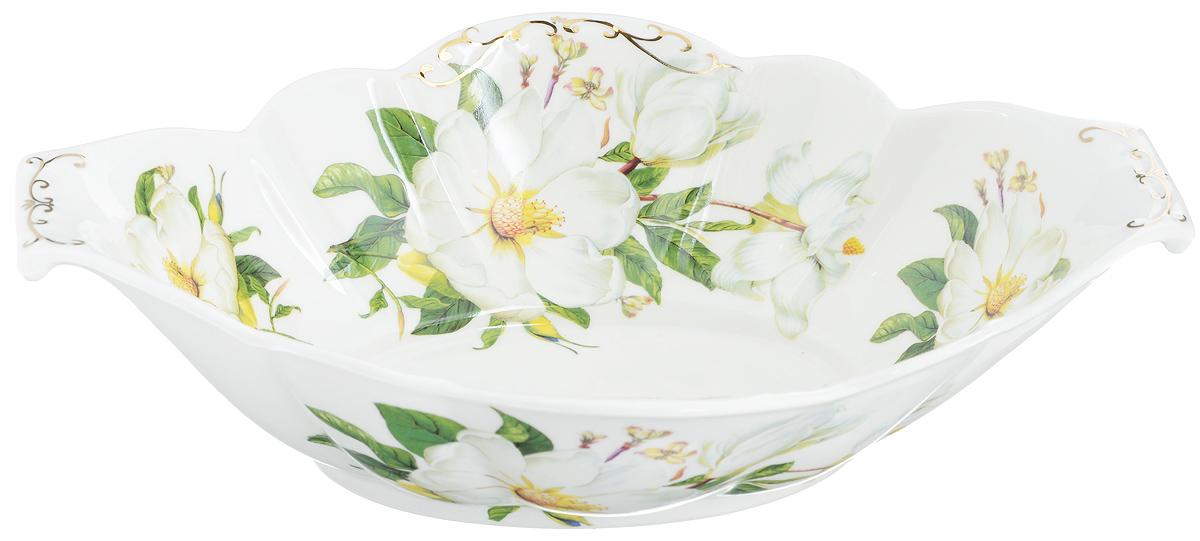Блюдо сервировочное Elan Gallery Белый шиповник, 33 х 21 х 8,5 см740109Блюдо сервировочное Elan Gallery Белый шиповник выполнено из высококачественной керамики в традиционном цветочном дизайне с золотистой каймой. Размер этого блюда подходит и для подачи горячего, и для приготовления и хранения слоеных салатов, для заливного или холодца. Изумительное сервировочное блюдо станет изысканным украшением вашего праздничного стола. Не рекомендуется использовать абразивные моющие средства. Не использовать в микроволновой печи. Размер блюда (по верхнему краю): 33 х 21 см.