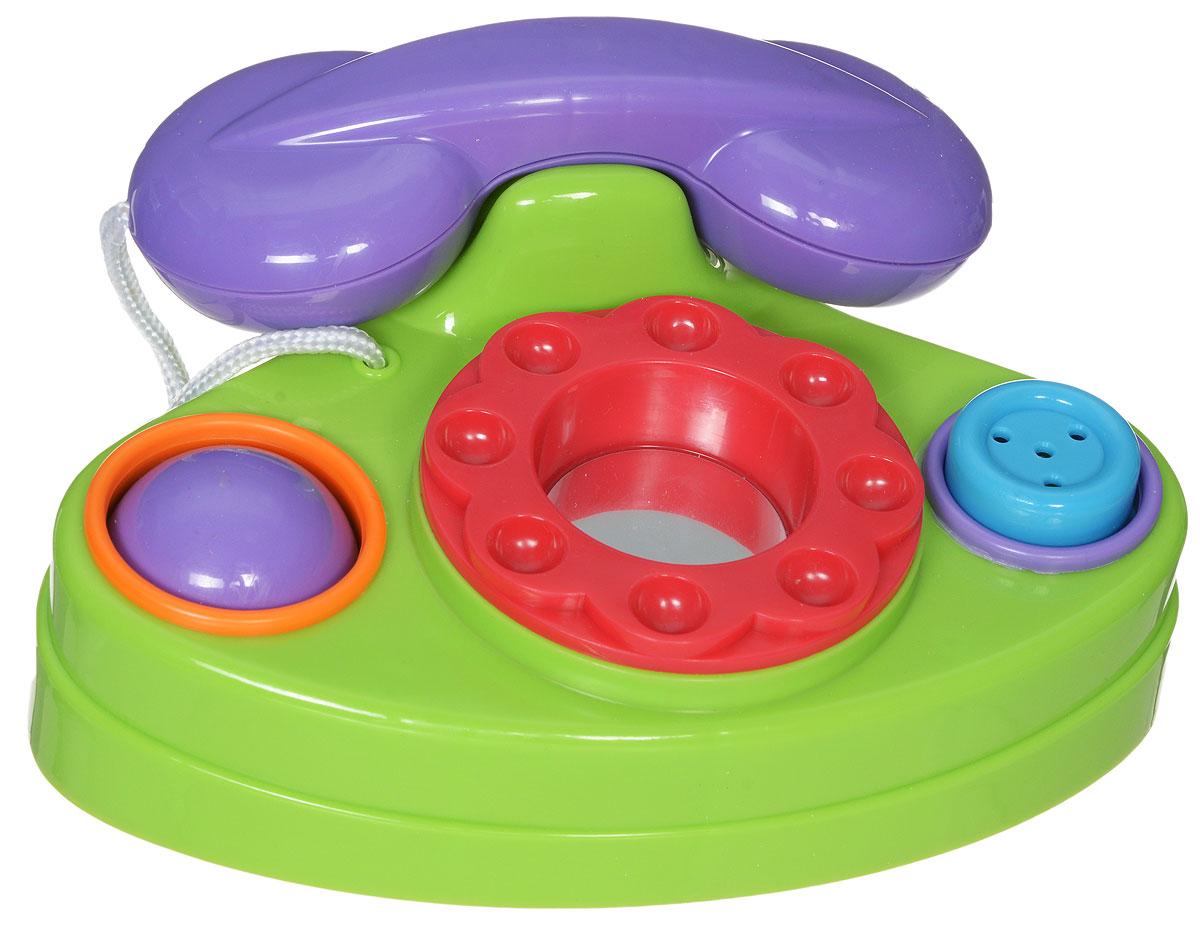 Simba Развивающая игрушка Телефон4012361Функциональный телефон предназначен для малышей от 6 месяцев. Игрушка выполнена из яркого безопасного пластика. Трубка телефона снимается и привязана к аппарату прочным шнурком. Диск крутится с легким пощёлкиванием. В центре диска находится безопасное зеркальце. Справа от диска расположена большая кнопка-пищалка. Слева от диска поместился двухцветный шарик, который можно покрутить. Игрушечный телефон способствует развитию у малыша мелкой моторики рук, координации движений, знакомит с понятиями цвета и формы.
