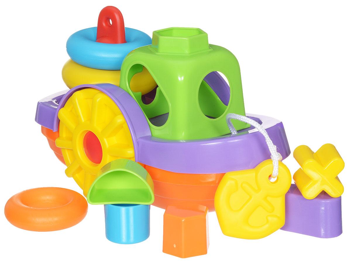 Simba Игрушка для ванной Кораблик4012072Развивающая игрушка для ванной Кораблик представляет собой полноценный игровой набор, в который входят пирамидка и сортер с геометрическими фигурами. Пирамидка состоит из трех разноцветных колец разного диаметра. Рубка кораблика выполнена в виде сортера на 5 ярких фигурок. Кораблик можно использовать и как обычную игрушку. Колеса кораблика крутятся, и малыш может возить его по полу за специальную веревочку. Яркий кораблик, в котором есть сортер и пирамидка, превратит обычные водные процедуры в огромное удовольствие. В процессе игры ребенок будет выдумывать различные сюжеты, развивая свое воображение. При этом развивается логическое мышление и память. Рекомендуемый возраст: 1-3 года.