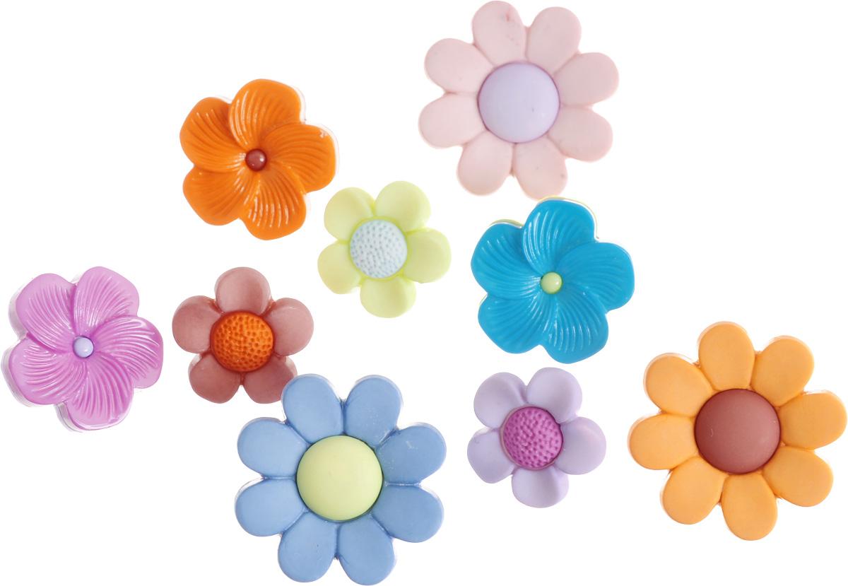 Пуговицы декоративные Buttons Galore & More Flower Power, 9 шт7708793Набор Buttons Galore & More Flower Power состоит из 9 декоративных пуговиц. Все элементы выполнены из пластика в виде цветов. Такие пуговицы подходят для любых видов творчества: скрапбукинга, декорирования, шитья, изготовления кукол, а также для оформления одежды. С их помощью вы сможете украсить открытку, фотографию, альбом, подарок и другие предметы ручной работы. Диаметр большой пуговицы: 2,3 см. Диаметр маленькой пуговицы: 1,5 см.
