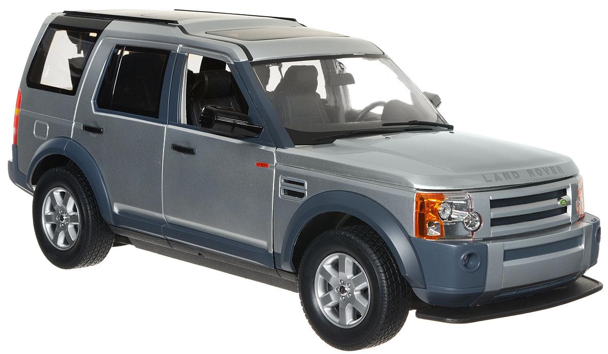 Rastar Радиоуправляемая модель Land Rover Discovery 3 цвет серебристый масштаб 1:1013000/LR3-10Радиоуправляемая модель Rastar Land Rover Discovery 3 обязательно привлечет внимание взрослого и ребенка и понравится любому, кто увлекается автомобилями. Все дети хотят иметь в наборе своих игрушек ослепительные, невероятные и крутые автомобили на радиоуправлении. Серьезные габариты придают реалистичность в управлении. Автомобиль отличается потрясающей маневренностью, динамикой и покладистостью. Это точная копия настоящего авто в масштабе 1:10. Авто обладает неповторимым провокационным стилем. Капот, передние двери, багажник открываются. Приборная панель и салон выполнены в мельчайших подробностях. Возможные движения: вперед, назад, вправо, влево, остановка. Имеются световые эффекты. Радиоуправляемые игрушки способствуют развитию координации движений, моторики и ловкости. Пульт управления работает на частоте 40 MHz. Машина работает от сменного аккумулятора (входит в комплект). Зарядное устройство в комплекте. Для работы пульта...