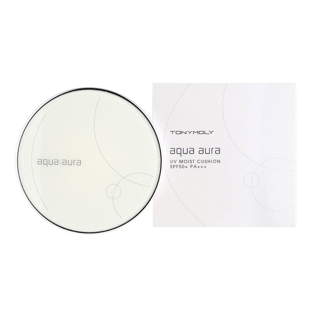 TonyMoly Тональное средство Aqua Aura UV Moist Cushion SPF50+ PA+++, оттенок 02, 15 грBM03013400Крем содержит ледниковую воду Аляски, экстракт алоэ вера, экстракт портулака, экстракт ромашки и т.д. Средство выравнивает тон кожи, маскирует недостатки кожи. На 35% увлажняет кожу, создавая влажное покрытие. Препятствует появлению сального блеска кожи. Обладает легкой, сливочной текстурой, легко наносится и не забивает поры кожи, маскирует их и мягко скрывает морщинки кожи. Ледниковая вода интенсивно питает, насыщает кожу полезными микро и макро-элементами, благодаря чему нормализуются и ускоряются многие жизненно важные процессы. Благотворно влияет на микроциркуляцию крови, активизирует процесс обновление крови, выводит токсины из организма. Экстракт алоэ вера содержит свыше 160 составных частей. Это аминокислоты, витамины, минералы. Обладает бактерицидными и бактериостатическими свойствами, стимулирует кровообращение, увлажняет кожу и помогает ей сохранять влагу, снимает воспаление. Его сок используется для заживления ожогов. Обладает смягчающими, увлажняющими и...
