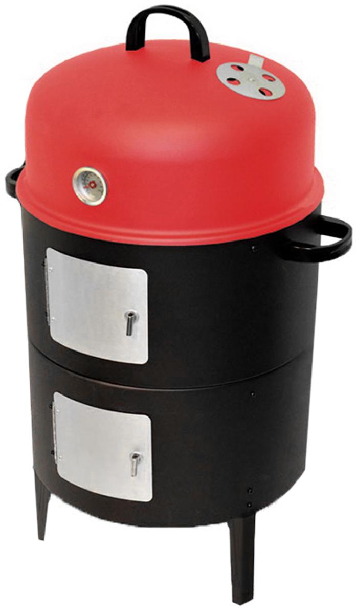 Коптильня 3в1 Smoker, 2 яруса. 4358A2239850000Коптильня Smoker предназначена для самостоятельного копчения мяса, рыбы и других продуктов на открытом воздухе. К тому же благодаря эргономичному дизайну вы можете использовать ее в качестве жаровни, сняв верхнюю крышку с датчиком температуры, или гриля, оставив только нижний ярус с решёткой. Корпус коптильни изготовлен из окрашенной эмалированной стали. Внутри она имеет два вместительных яруса. Продукты для копчения размещаются на двух металлических решетках, а также могут подвешиваться на крюках. Для более удобного использования круглые решетки имеют специальные ручки. Обтекаемая форма внутренней камеры способствует равномерному и качественному приготовлению пищи. Также коптильня снабжена датчиком температуры с детальным масштабом, с помощью которого можно отслеживать динамику нагрева. Подачу воздуха можно регулировать. В комплект входят две эмалированные миски, крюки. Коптильня Smoker станет прекрасным подарком для любителей пикников, рыбалки и...