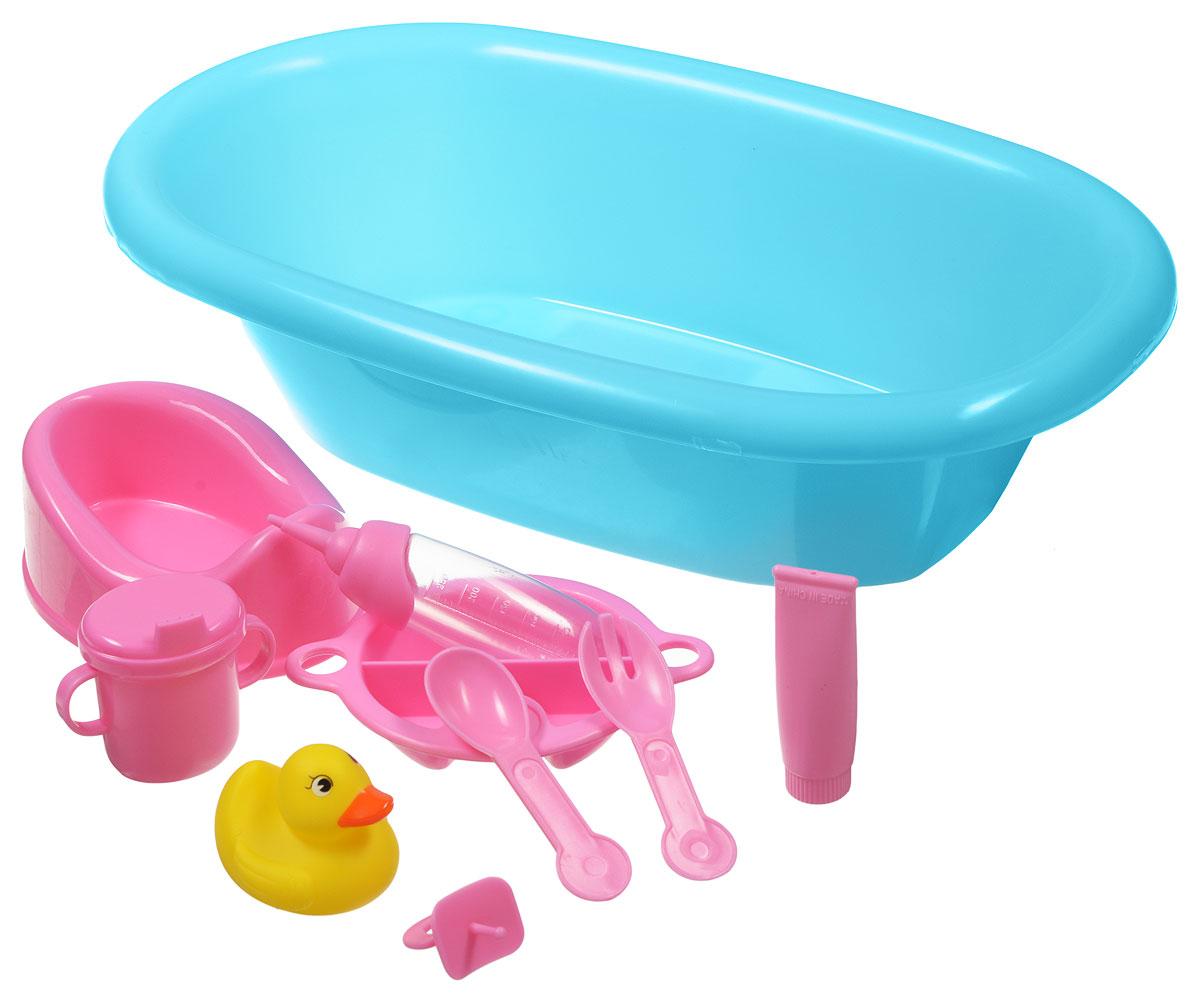Simba Набор аксессуаров Ванночка цвет ванночки голубой5655Игровой набор Simba New Born Baby станет отличным подарком для любой девочки. В наборе есть все необходимое, чтобы помыть, намазать кремом, накормить, напоить и посадить на горшочек любимую куколку. В комплекте с ванночкой есть и необходимые аксессуары: горшок, тюбик с кремом, уточка, соска, поильник, бутылочка, ложка, вилка, тарелка. Подходит для пупсов и куколок длиной 38-43 см.