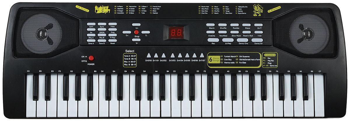ABtoys Синтезатор DoReMi 49 клавиш с микрофономD-00037Синтезатор ABtoys DoReMi непременно привлечет внимание малыша и доставит ему много удовольствия от часов, посвященных игре с ним. Синтезатор имеет 49 электронных клавиш и кнопки, позволяющие добавлять различные звуковые эффекты при составлении мелодий. При пользовании синтезатора доступно: 16 звуков музыкальных инструментов, 16 темпов ритма, 8 звуков электронной барабанной установки, 6 песен, запись, воспроизведение, режим программирования, караоке, встроенный микрофон, 16 уровней громкости, 32-х кратное увеличение темпа, режим обучения и демонстрационный режим, эффект вибрато/аккорда, игра одним пальцем, автоматическое выключение, 2 цифровых дисплея. В комплект с синтезатором входят микрофон, сетевой кабель и инструкция на русском языке. С помощью этого синтезатора ребенок сможет развить свои музыкальные способности и дать возможность друзьям и близким насладиться великолепным концертом. Порадуйте своего ребенка таким замечательным подарком. Работает от...