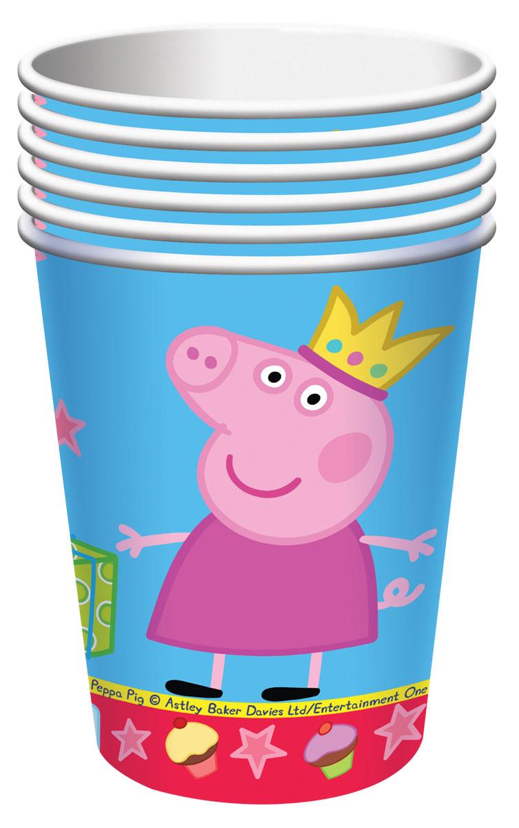 Peppa Pig Стакан Пеппа-принцесса 6 шт28554Одноразовые стаканы Пеппа-принцесса Свинка Пеппа с ярким, жизнерадостным дизайном стильно украсят праздничный стол и поднимут всем настроение. А на пикнике они просто необходимы! Их практическую пользу невозможно переоценить: они почти невесомы, не могут разбиться, их не надо мыть. Сделанные из плотной бумаги, они абсолютно безопасны и прекрасно удерживают напитки. В наборе 6 бумажных стаканов объемом 210 мл. Упаковка - пакет с хедером. Из данной серии вы также можете выбрать скатерть, тарелки, язычки, колпаки, дудочки, подарочный набор посуды, приглашение в конверте, тиары и другие товары.