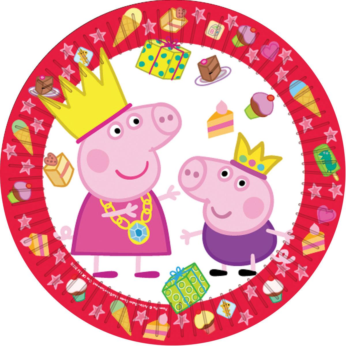 Peppa Pig Тарелка Пеппа-принцесса 6 шт28555Одноразовые тарелки Пеппа-принцесса Свинка Пеппа с ярким, жизнерадостным дизайном стильно украсят праздничный стол и поднимут всем настроение. А на пикнике они просто необходимы! Их практическую пользу невозможно переоценить: они почти невесомы, не могут разбиться, их не надо мыть. Сделанные из плотной бумаги, они абсолютно безопасны и, благодаря глянцевому ламинированию, прекрасно удерживают еду. В наборе 6 бумажных тарелок диаметром 23 см. Упаковка - пакет с хедером. Из данной серии вы также можете выбрать скатерть, стаканы, язычки, колпаки, дудочки, подарочный набор посуды, приглашение в конверте, хлопушки и другие товары.