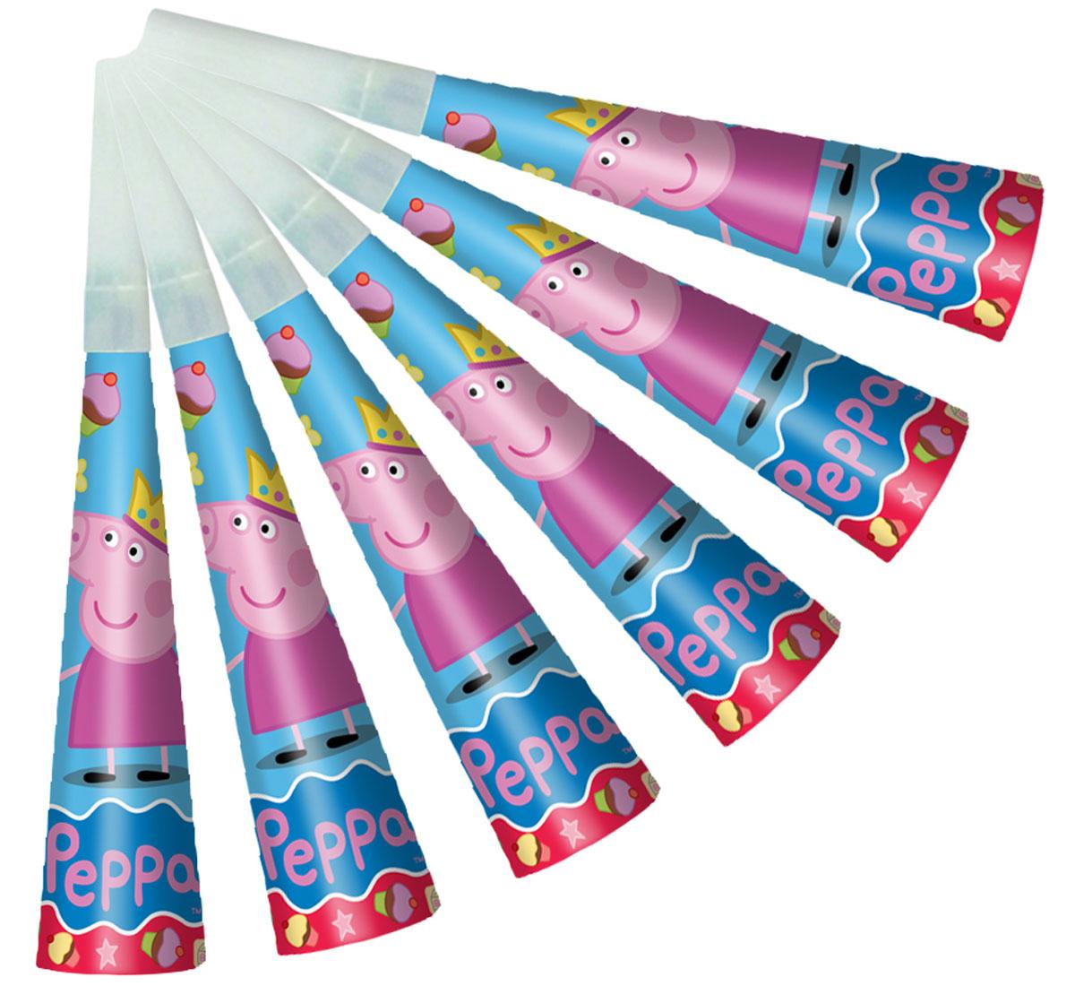 Peppa Pig Дудочка Пеппа-принцесса 6 шт28557Забавные дудочки Пеппа-принцесса ТМ Свинка Пеппа развеселят ребятишек, помогут устроить множество интересных игр и конкурсов и будут активно способствовать развитию их дыхательной системы, что очень полезно для здоровья. В наборе 6 бумажных дудочек, декорированных ярким принтом. Вы также можете выбрать другие товары из данной серии: стаканы, тарелки, салфетки, язычки, колпаки, подарочный набор посуды, приглашение в конверте, скатерть, тиары, хлопушки и другие товары.