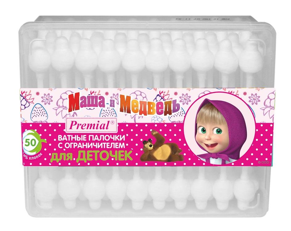 Маша и Медведь Ватные палочки с ограничителем 50 шт