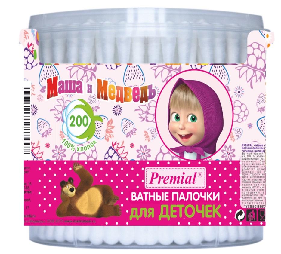 Маша и Медведь Ватные палочки цилиндрические 200 шт