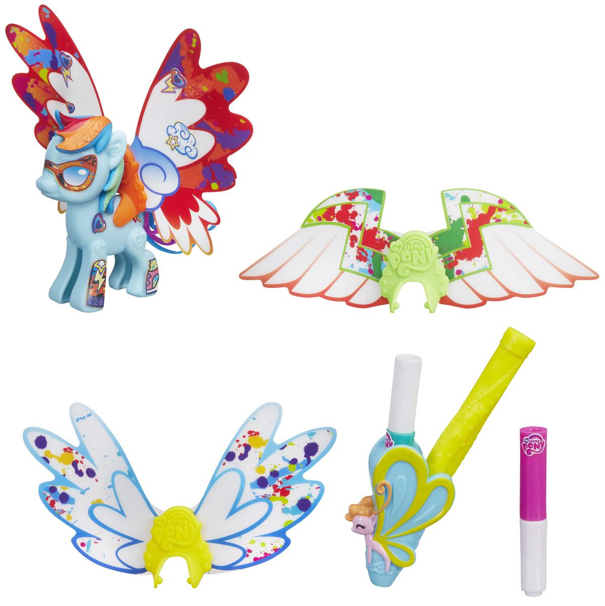 My Little Pony Фигурка Создай свою пони с крыльями Rainbow DashB3590EU4_B5678Фигурка My Little Pony Создай свою пони с крыльями. Rainbow Dash - это отличный набор для развития творческих способностей маленькой модницы. В наборе имеются элементы для сборки лошадки из популярного мультсериала Дружба – это чудо, а также набор аксессуаров для ее украшения. А также в наборе вы найдете: три пары разных крыльев (отличаются формой и узорами), разноцветные маркеры и наклейки. Раскрасьте крылья, подберите нужные стикеры и создайте свой уникальный образ стильной пони. Ваша малышка будет в восторге от такого подарка!