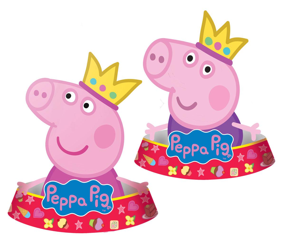 Peppa Pig Колпак фигурный Пеппа-принцесса 6 шт28Яркие колпачки Пеппа-принцесса в виде Свинки Пеппы приведут в восторг любого ребенка! В наборе 6 фигурных бумажных колпаков: 3 - в виде Пеппы, 3 - в виде Джорджа. Также из данной серии вы можете выбрать стаканы, тарелки, язычки, дудочки, подарочный набор посуды, приглашение в конверте, скатерть, маски, тиары, гирлянду и другие товары.