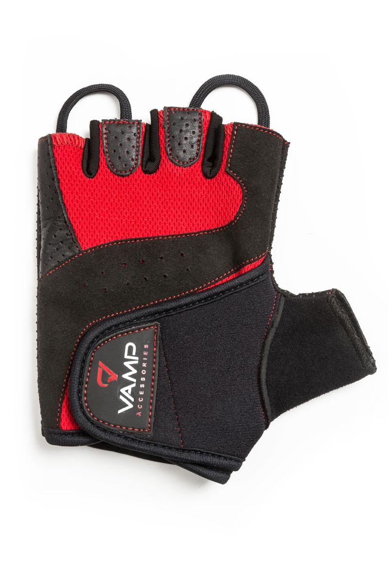 Перчатки для фитнеса Vamp унисекс, цвет: красный. RE-560. Размер LV-185Оригинальные перчатки для фитнеса, которые отлично подойдут и мужчинам, и женщинам. Яркий внешний вид и сочетание остроумных конструктивных решений делают перчатки оптимальным выбором для тренинга. - Стабильный обхват и меньшая нагрузка на ладони благодаря мягким вставкам и силиконовым точкам. - Легко снимаются благодаря прочным петлям. - Выдерживают многократную стирку в машине. - Застёжка на тыльной стороне ладони обеспечивает оптимальную фиксацию. - Рукам не жарко, они меньше потеют в перчатках благодаря дышащему материалу верхней части.