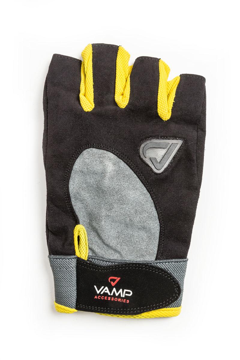 Перчатки для фитнеса Vamp унисекс, цвет: желтый. RE 02. Размер XSV-874Универсальные перчатки для фитнеса и силовых тренировок. Идеально подходят начинающим спортсменам и фитнес-энтузиастам. - Рукам не жарко, они меньше потеют в перчатках благодаря применению дышащего материала. - Специальные подушечки на ладони и нижней части пальцев защищают от мозолей и снижают нагрузку на ладони. - Застежка на липучке прочно фиксирует перчатку и удобно регулируется.