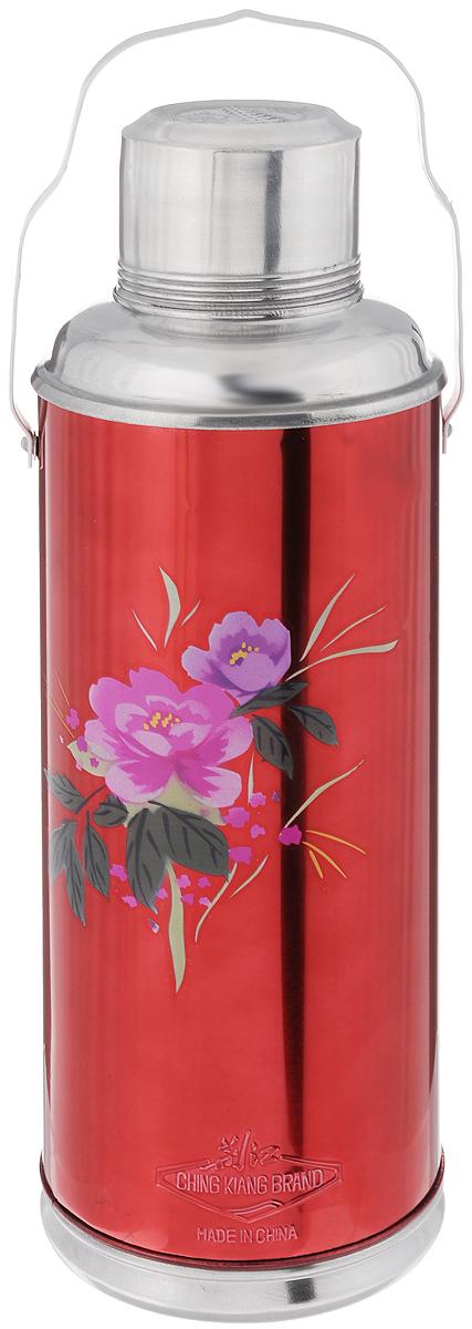 Термос Super Kristal, цвет: красный, фиолетовый, 2 л511Термос Super Kristal изготовлен из высококачественного металла, колба внутри - стеклянная. Термос можно использовать для горячих и охлажденных жидкостей. Необходимая температура жидкости в термосе сохраняется долгое время. Термос снабжен закручивающейся крышкой, которую можно использовать как чашку. Имеется ручка для переноски. Термос Super Kristal подходит для домашнего использования, а также незаменим во время поездок и пикников. Легкий и удобный, он станет незаменимым спутником в ваших поездках. Диаметр по верхнему краю: 7 см. Диаметр дна: 12 см. Высота термоса с учетом крышки: 38 см.
