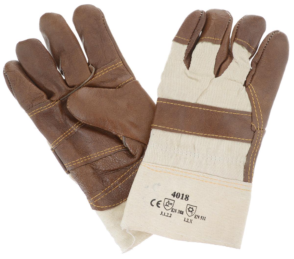 Перчатки защитные Рос, кожаные, цвет: коричневый, бежевый12445_коричневыеКожаные рабочие перчатки Рос предназначены для защиты рук во время строительных и погрузо-разгрузочных работ. Перчатки удобны в эксплуатации и отлично защищают руки от грязи, возникновения мозолей, натирания при продолжительном труде и механических повреждений. Они изготовлены из плотной ткани и натуральной свиной кожи для лучшего сцепления с предметами. Внутри перчатки отделаны синтепоном, который согревает руки и обеспечивает комфорт при работе в условиях пониженных температур. Перчатки отличаются прочностью и износостойкостью, устойчивы к истиранию и имеют долгий срок службы.