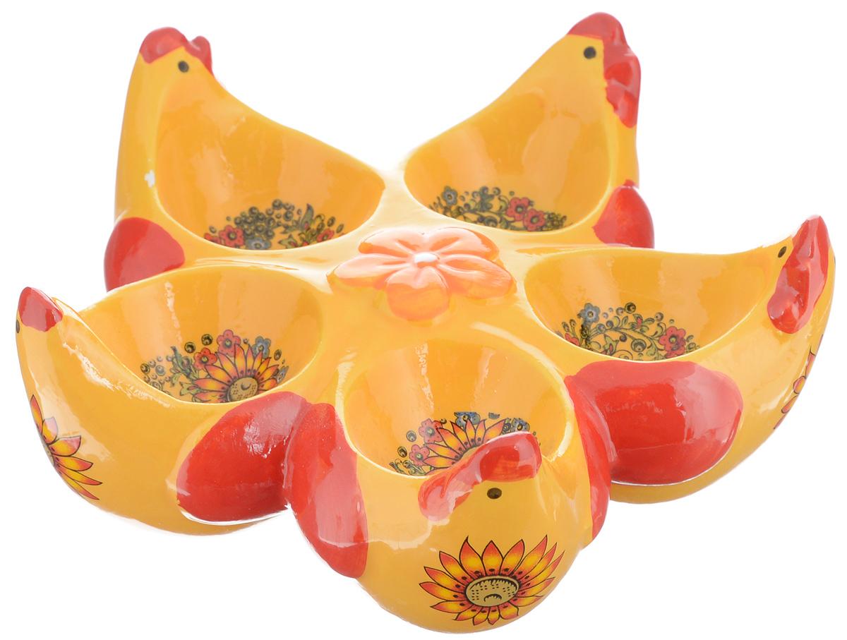 Подставка под яйца Home Queen Русские узоры, 5 ячеек64269Подставка под яйца Home Queen Русские узоры станет оригинальным украшением праздничного стола на Пасху. Изделие выполнено из глазурованной керамики, декорированной красивыми узорами, и служит подставкой для 5 яиц. Такая подставка красиво оформит праздничный стол и создаст особое настроение. Посуда не предназначена для использования в микроволновой печи и посудомоечной машине. Выдерживает температуру от -10° до +100°С. Не использовать в морозильной камере. Размер выемки для яйца: 4 х 5 см.