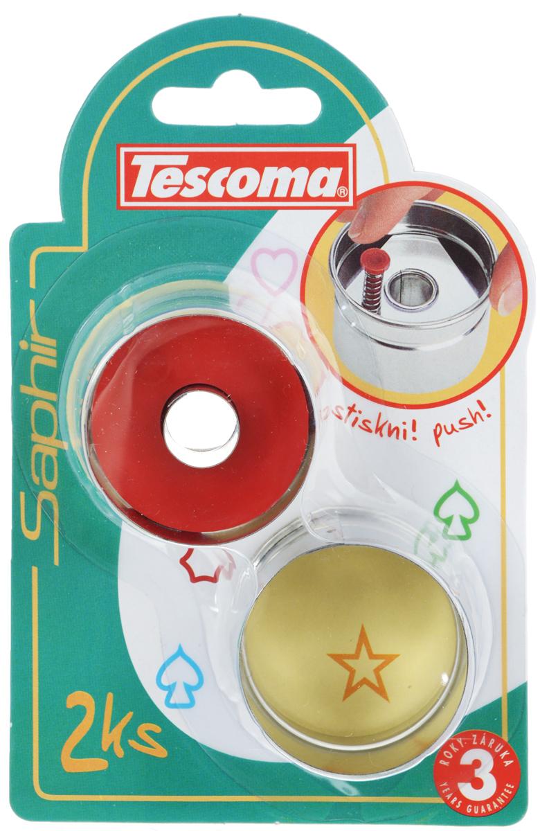 Пресс-форма для печенья Tescoma Круги, диаметр 4,5 см, 2 шт629775Пресс-форма Tescoma Круги для печенья выполнена из высококачественного металла и пластика. С помощью пресс-формы вырежьте из теста форму, перенесите на лист и нажатием пружины выдавите тесто. Нижнюю часть печенья с начинкой вырежьте с помощью обычной формы, которая идет в комплекте. Не рекомендуется мыть в посудомоечной машине. Диаметр формы: 4,5 см.