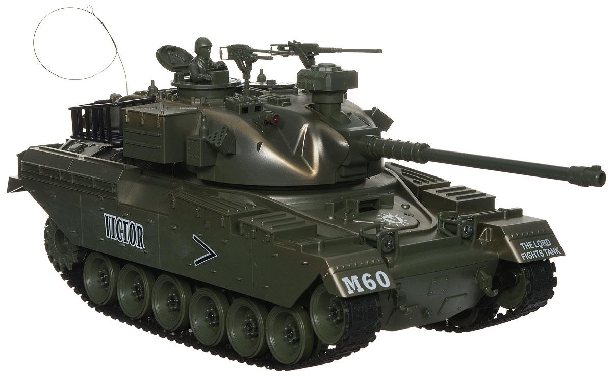 Balbi Танк на радиоуправлении М60 FMT-1601-NFMT-1601-NТанк на радиоуправлении Balbi М60 - отличный подарок не только ребенку, но и взрослому, с помощью которого можно устроить настоящий танковый бой в домашних условиях. Модель танка на радиоуправлении Balbi М60 FMT-1601-N выполнена из качественного пластика с детализацией основных частей в масштабе 1:16. При включении и движении танка раздается звук работающего двигателя. У танка имеется три скорости движения вперед и две скорости движения назад. Модели доступен быстрый разворот влево/вправо. У танка регулируется угол наклона пушки с пульта ДУ. Угол вращения башни составляет 280 градусов. Танк имеет функцию выстреливать пульками 6 мм (функция отключается выключателем, спрятанным под крышкой люка). Имитация выстрела из пушки производится с откатом назад. Комплект специальных пулек имеется в наборе. При движении танка вперед загораются световые огни. Танк может преодолевать подъем в 45°. Фигурка командира танка и пулеметы в комплекте. В комплекте: танк, пульт...