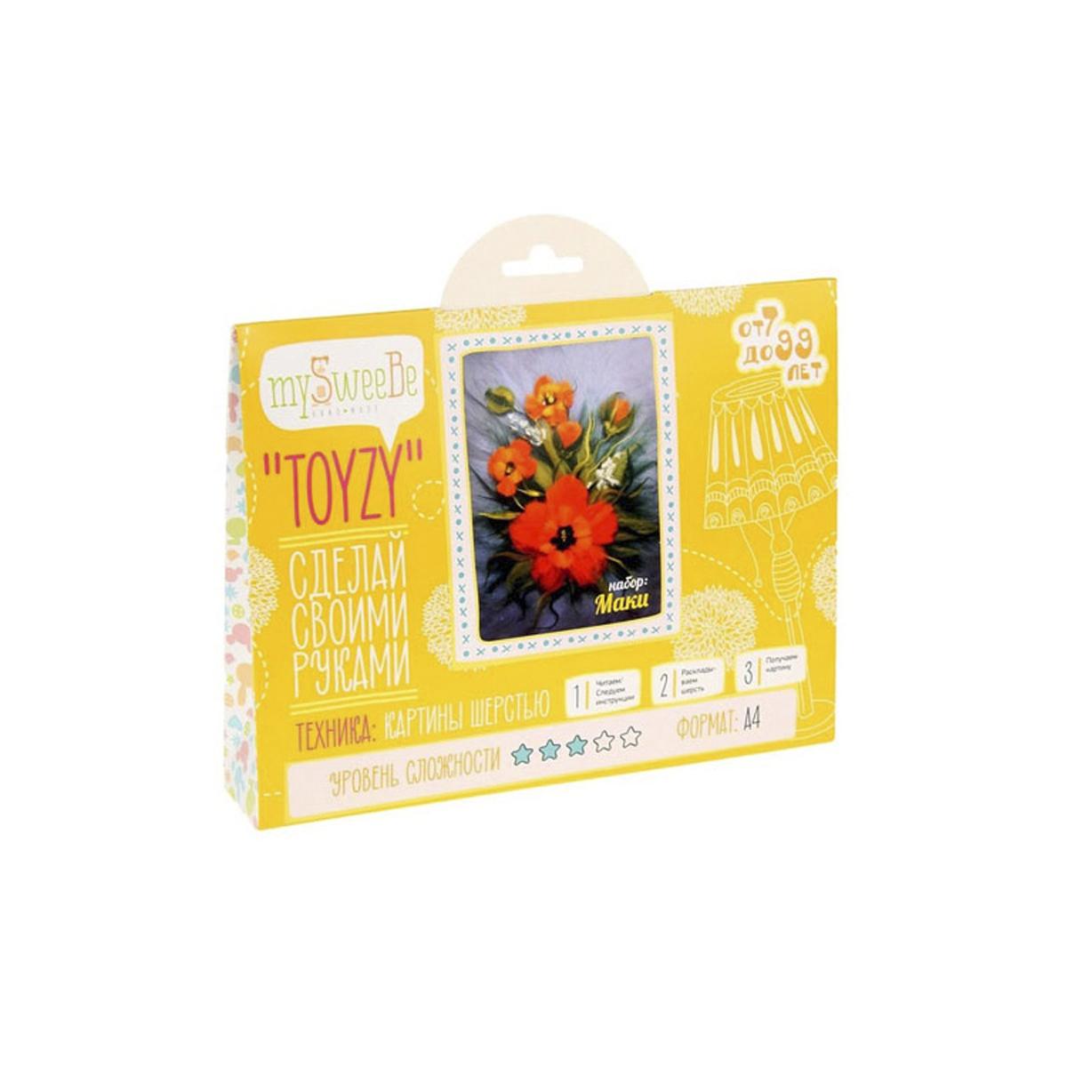 Картина шерстью Toyzy Маки, 29,7 см х 21 см. TZ-P008582266Набор для изготовления картин из шерсти Toyzy включает в себя: детальную инструкцию; все необходимые материалы и инструменты (в т.ч. шерсть, пинцет, подложку, дополнительные элементы). Шерсть, содержащаяся в наборе, является 100% натуральной и качественной.