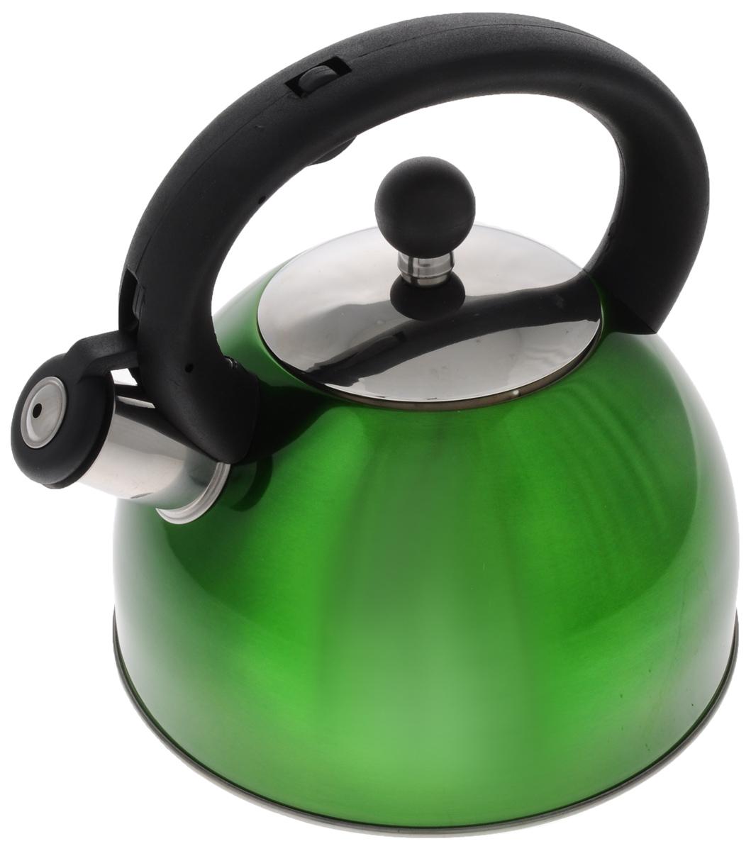 Чайник Mayer & Boch, со свистком, цвет: зеленый, 2,7 л. 33323332_зеленыйЧайник Mayer & Boch выполнен из нержавеющей стали высокой прочности, при кипячении сохраняет все полезные свойства воды. Весьма гигиеничен и устойчив к износу при длительном использовании. Гладкая и ровная поверхность существенно облегчает уход за посудой. Чайник оснащен кнопкой для открывания носика и свистком, который громко оповестит о закипании воды. Удобная эргономичная ручка выполнена из пластика. Такой чайник идеально впишется в интерьер любой кухни и станет замечательным подарком к любому случаю. Подходит для газовых, электрических, стеклокерамических, галогеновых плит. Не подходит для индукционных плит. Можно мыть в посудомоечной машине. Диаметр чайника (по верхнему краю): 10 см. Высота чайника (с учетом ручки): 23 см. Диаметр основания: 21 см.