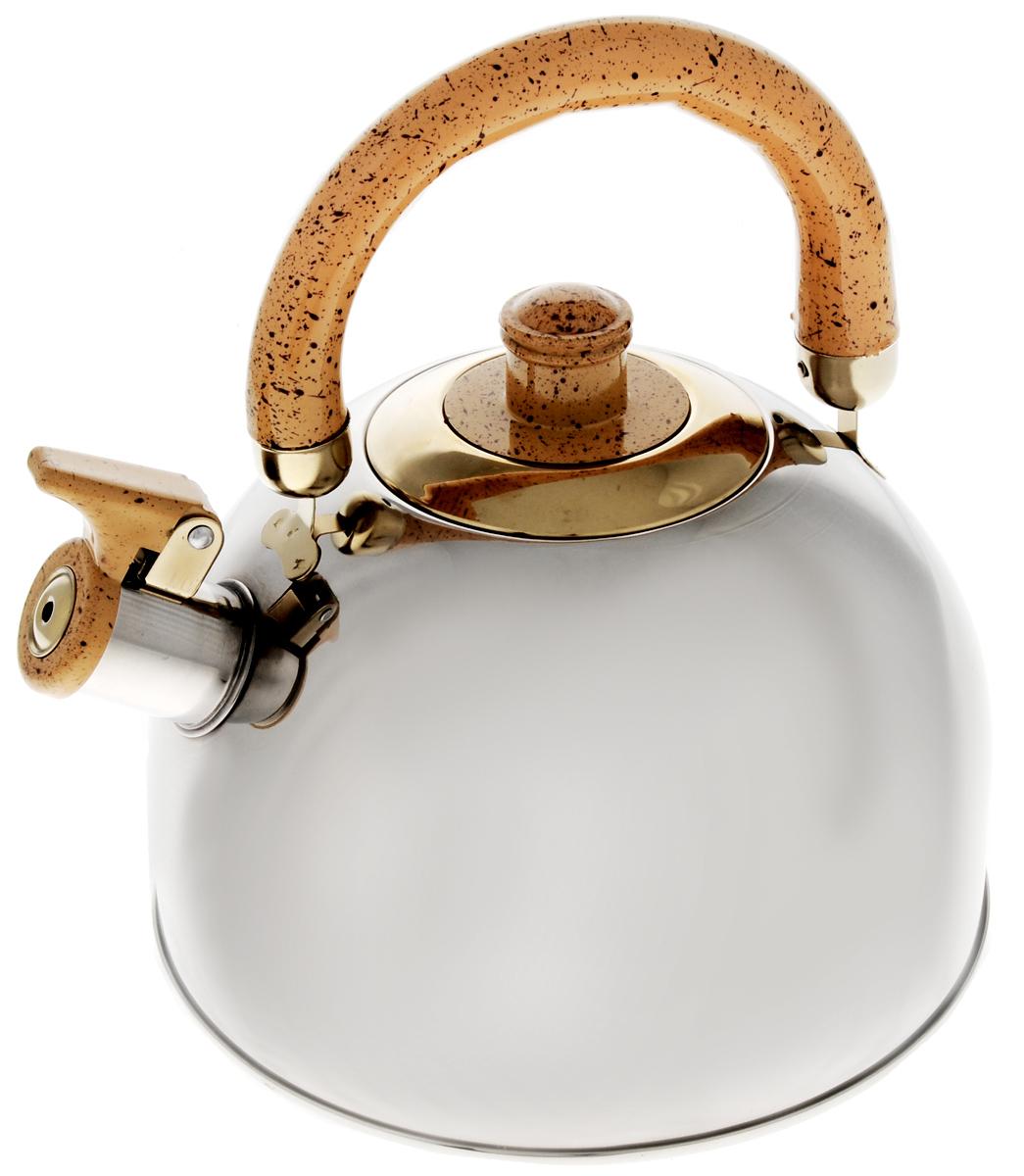 Чайник Mayer & Boch, со свистком, цвет: стальной, светло-коричневый, 4 л4516_светло-коричневыйЧайник Mayer & Boch выполнен из зеркальной нержавеющей стали высокой прочности. Весьма гигиеничен и устойчив к износу при длительном использовании. Гладкая и ровная поверхность существенно облегчает уход за посудой. Чайник оснащен откидным свистком, который громко оповестит о закипании воды. Удобная эргономичная ручка выполнена из бакелита. Такой чайник идеально впишется в интерьер любой кухни и станет замечательным подарком к любому случаю. Подходит для газовых, электрических, стеклокерамических, галогеновых плит. Не подходит для индукционных плит. Можно мыть в посудомоечной машине. Диаметр чайника (по верхнему краю): 9 см. Высота чайника (с учетом ручки): 23 см. Диаметр основания: 20 см.